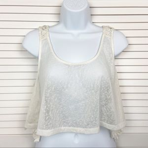 NWT En Cremé Sheer See Through Lace Backed Tank L